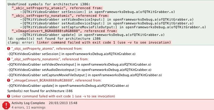0073 Qtkitvideograbber Error Mach O Linker X Code Openframeworks