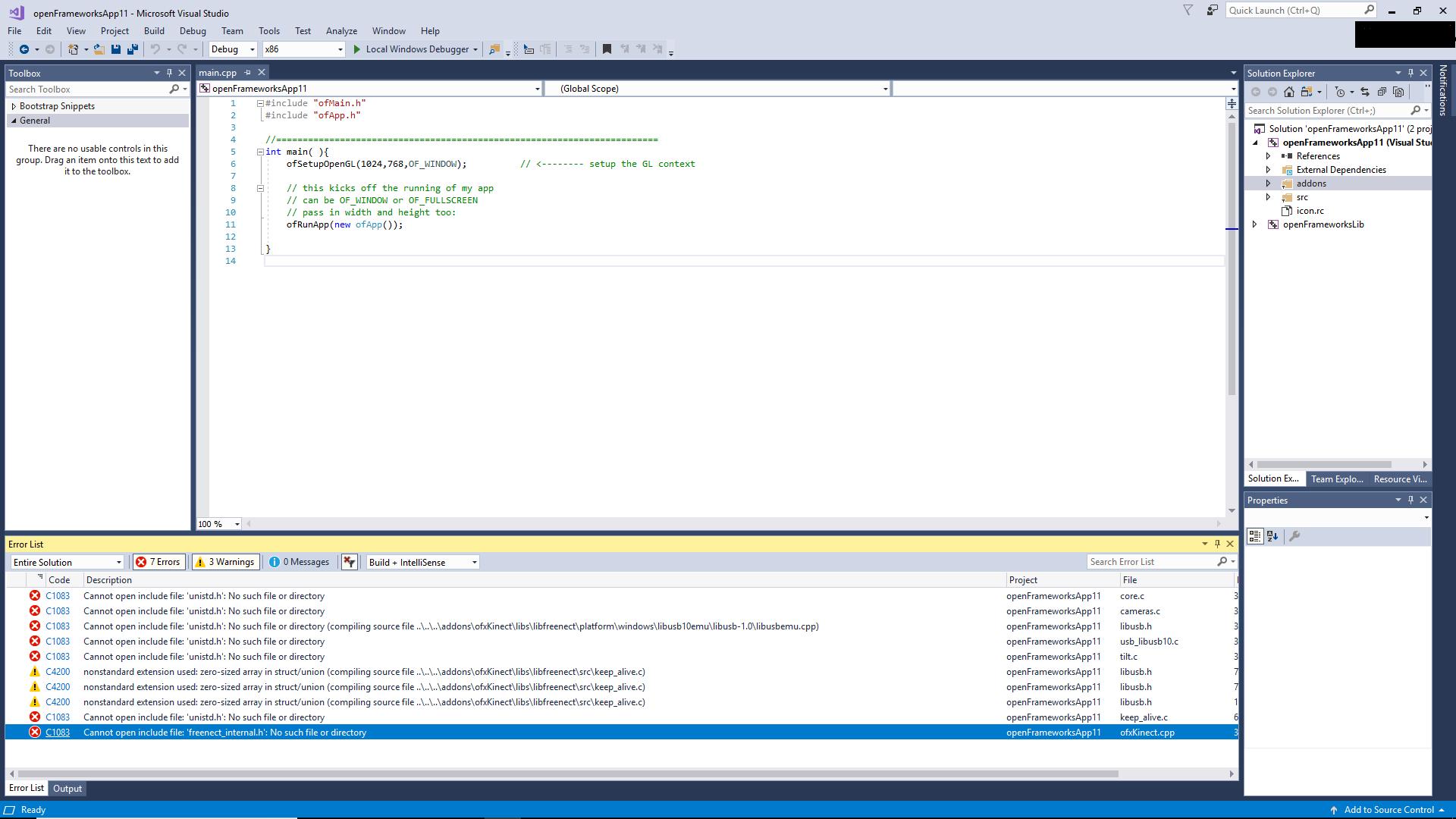 Solved] Problem in openframeworks setup in Visual Studio