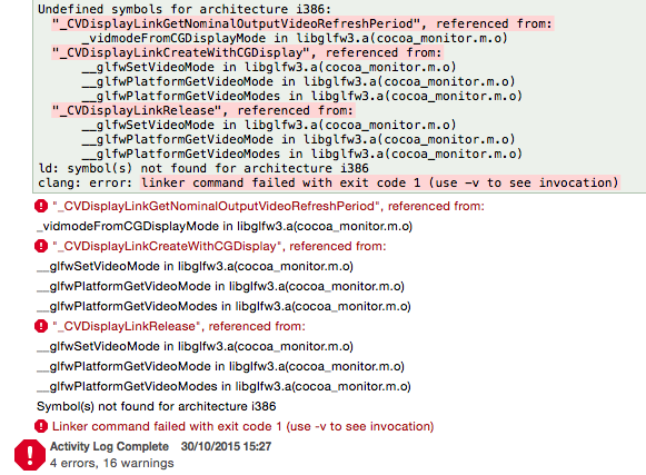 undefined symbols for architecture i386 error message for