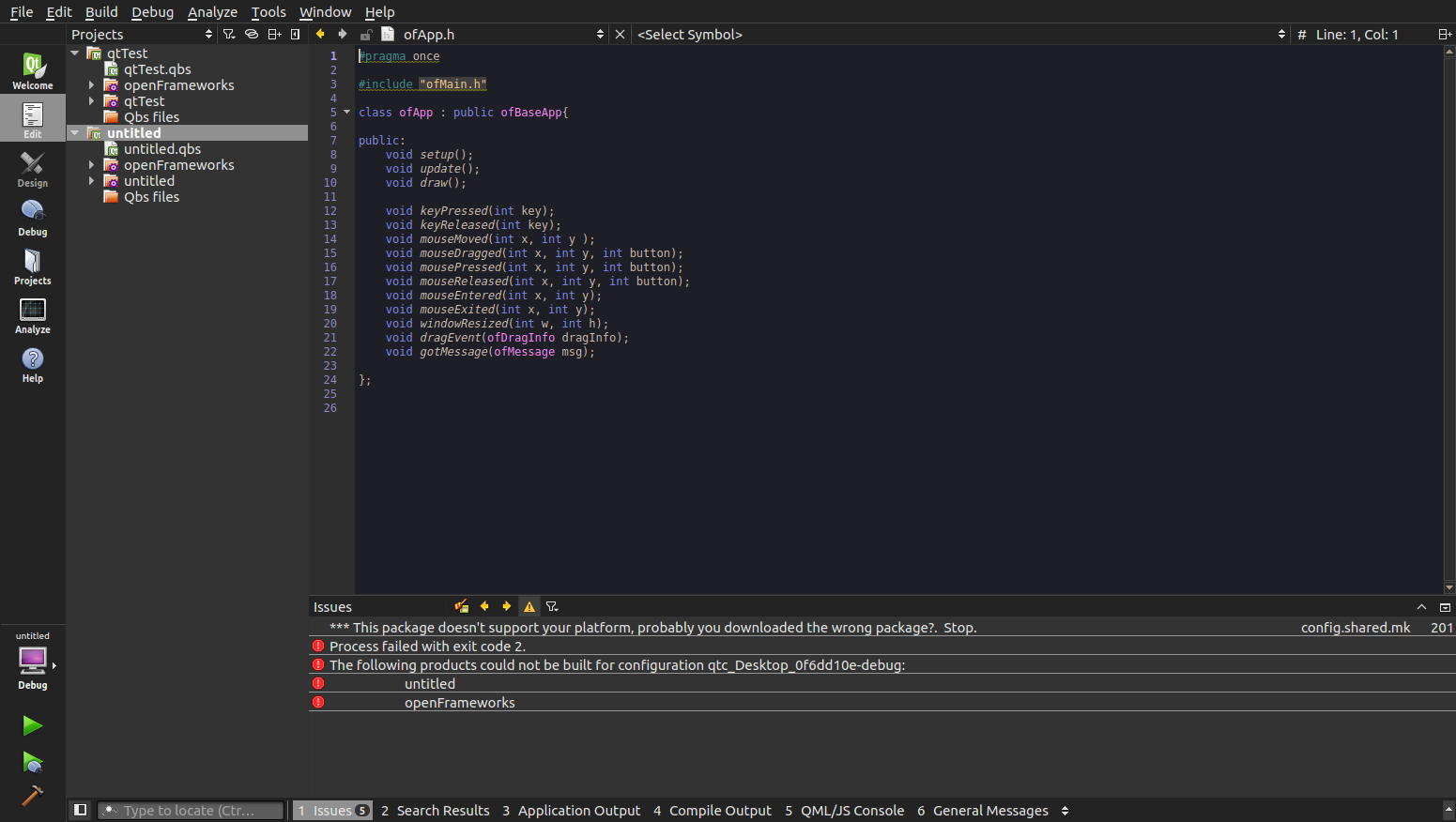 openFrameworks 0 9 + QtCreator - beginners - openFrameworks