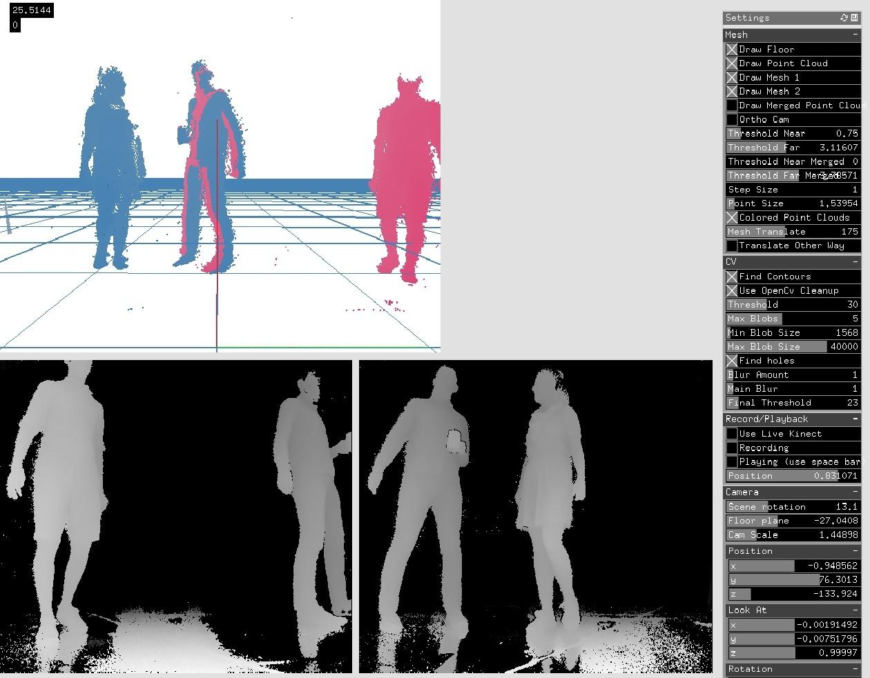 User segmentation/3D blob tracking on multi-kinect data - advanced