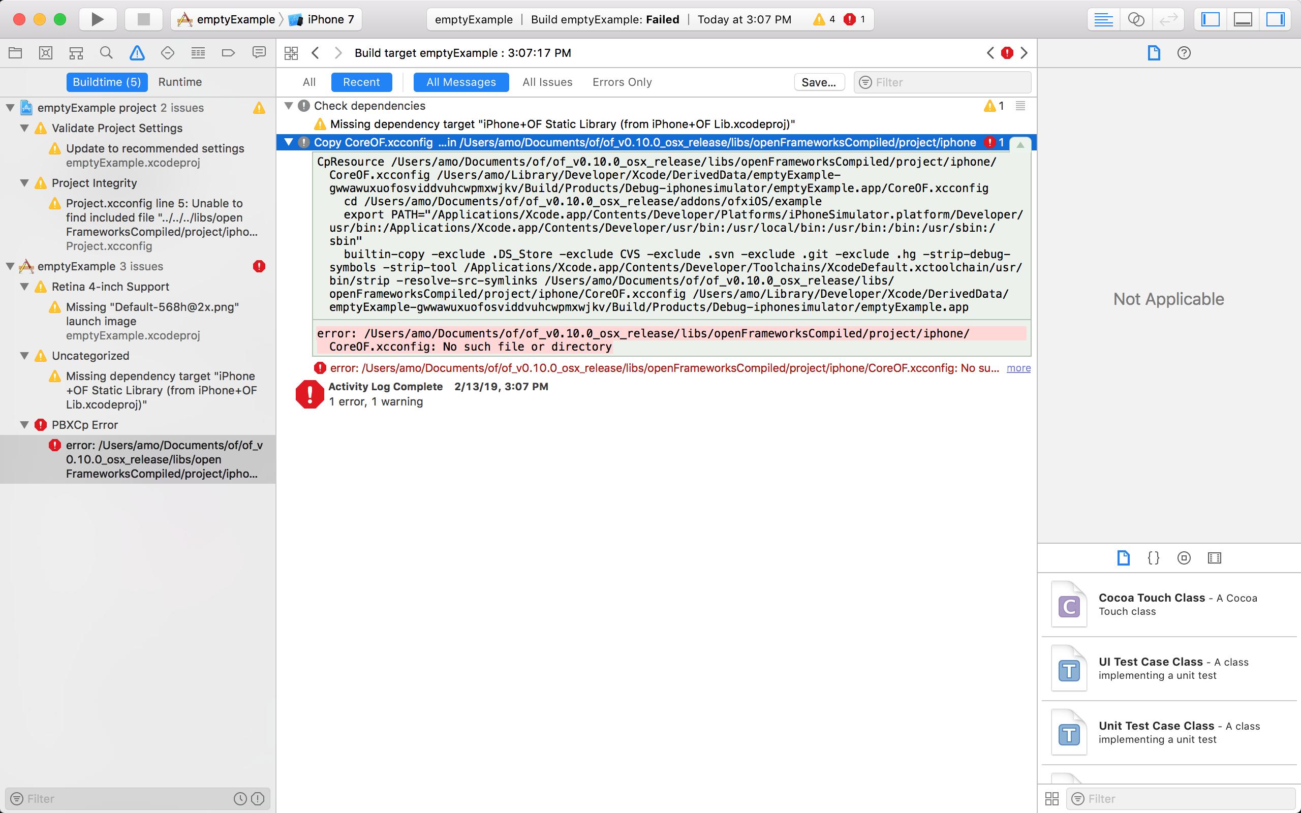 Help! Any ios tutorials? Compile emptyExample xcodeproj