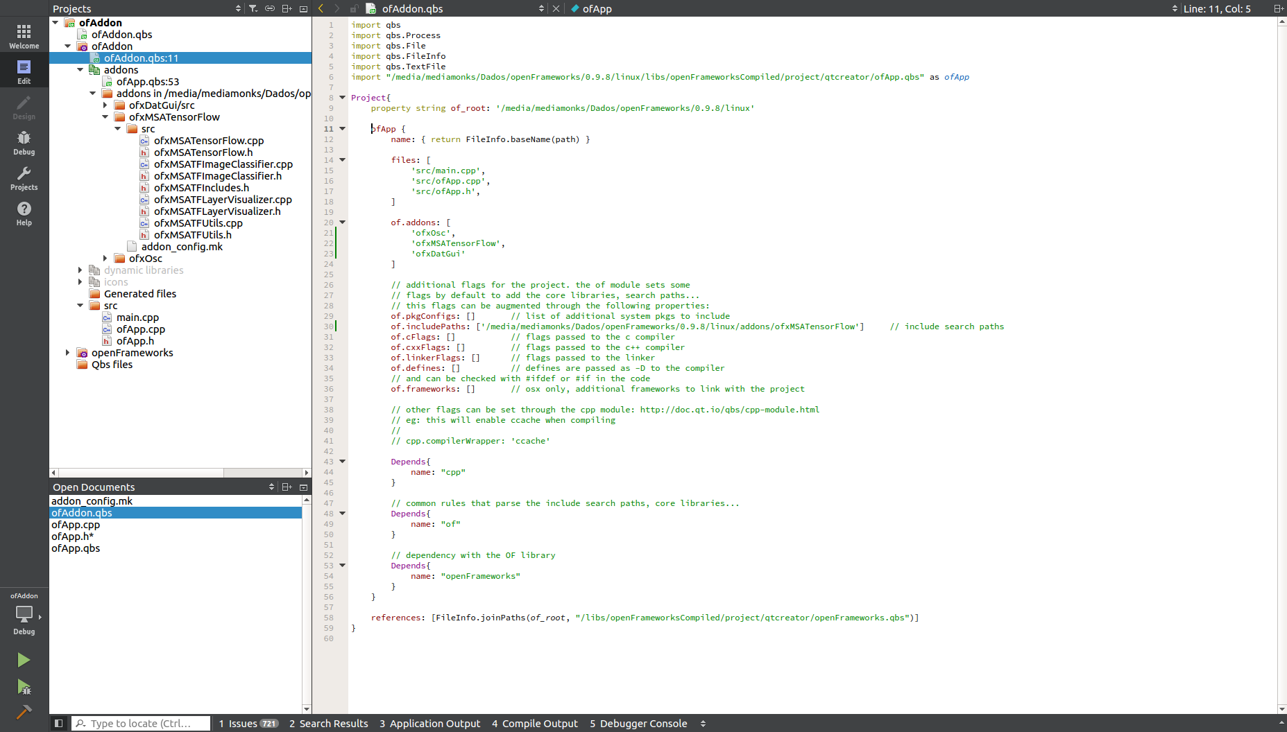 Addon not correctly imported (QtCreator + Ubuntu) - linux