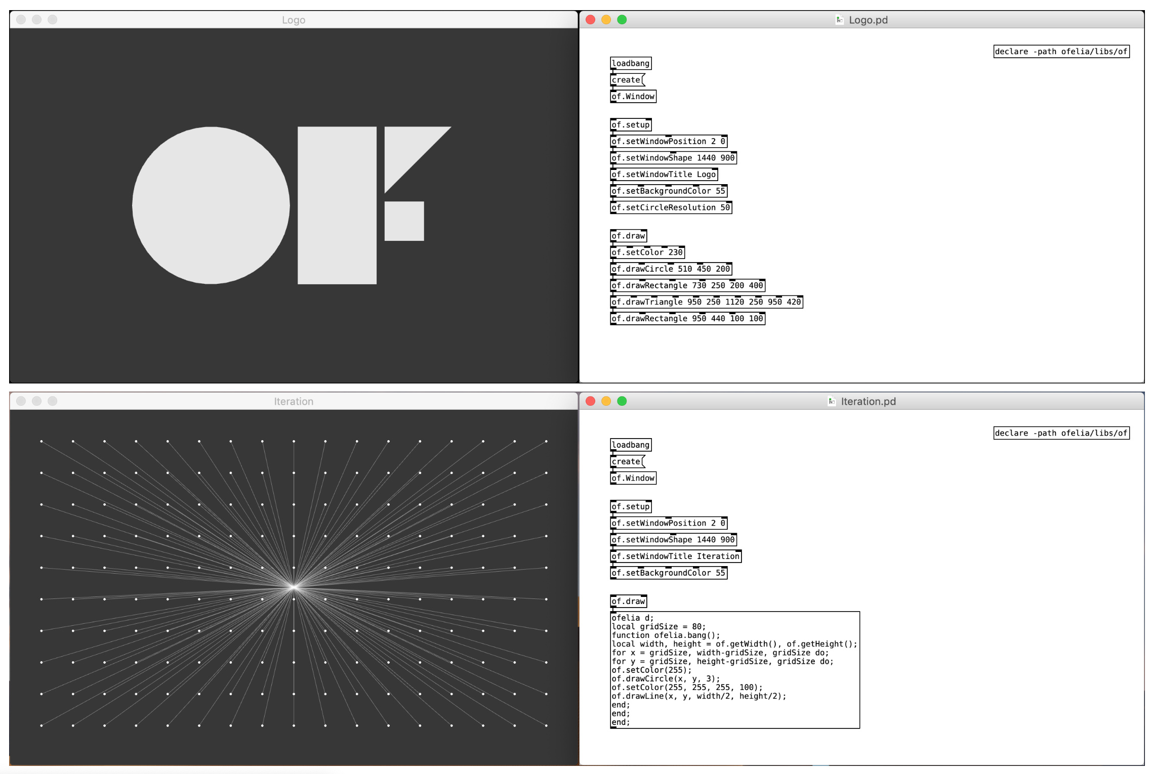 Ofelia: openFrameworks and Lua within Pure Data - announcements