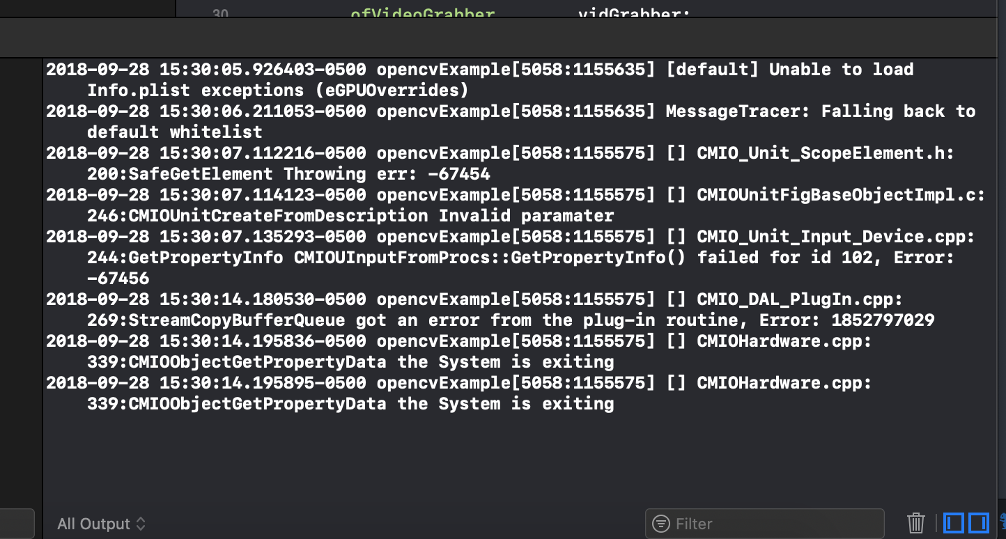 Error when running opencvExample on newest xcode and OSx