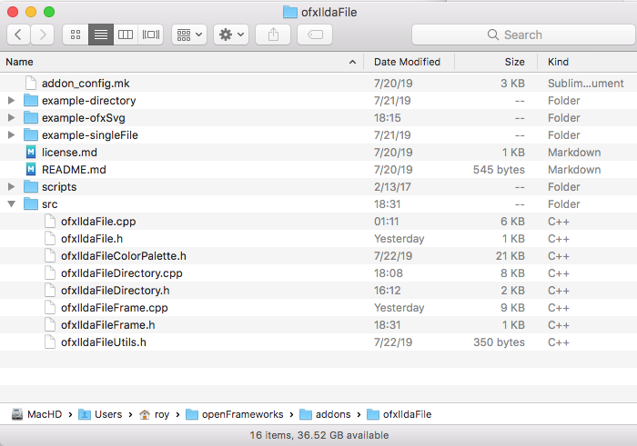 Documentation to create addons - beginners - openFrameworks