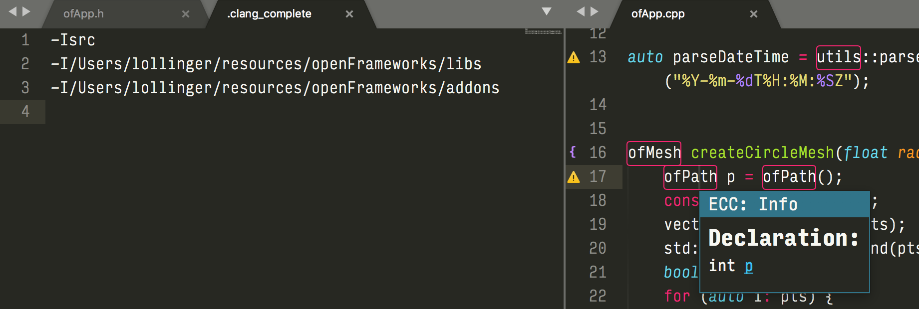Sublime Text 3 and EasyClangAutocomplete - advanced - openFrameworks