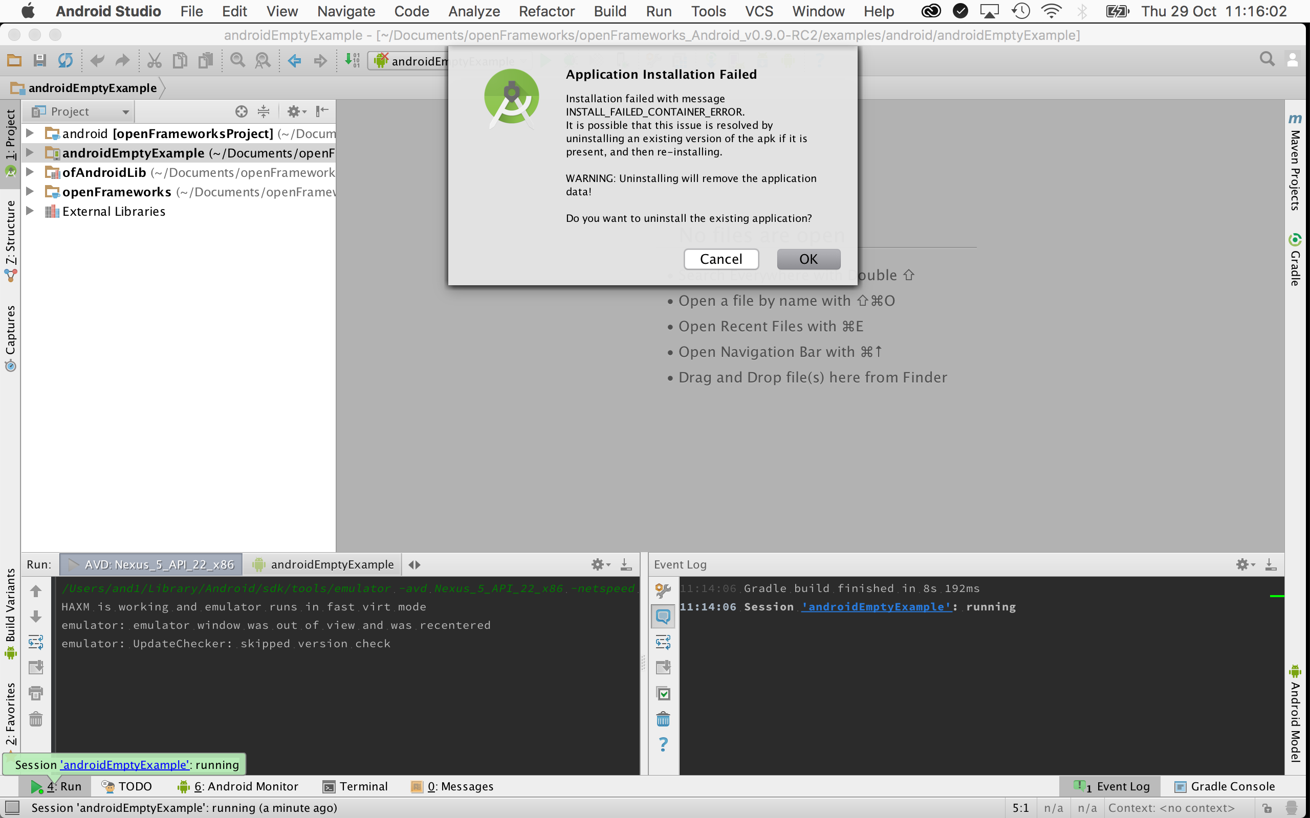 run apk on mac android studio